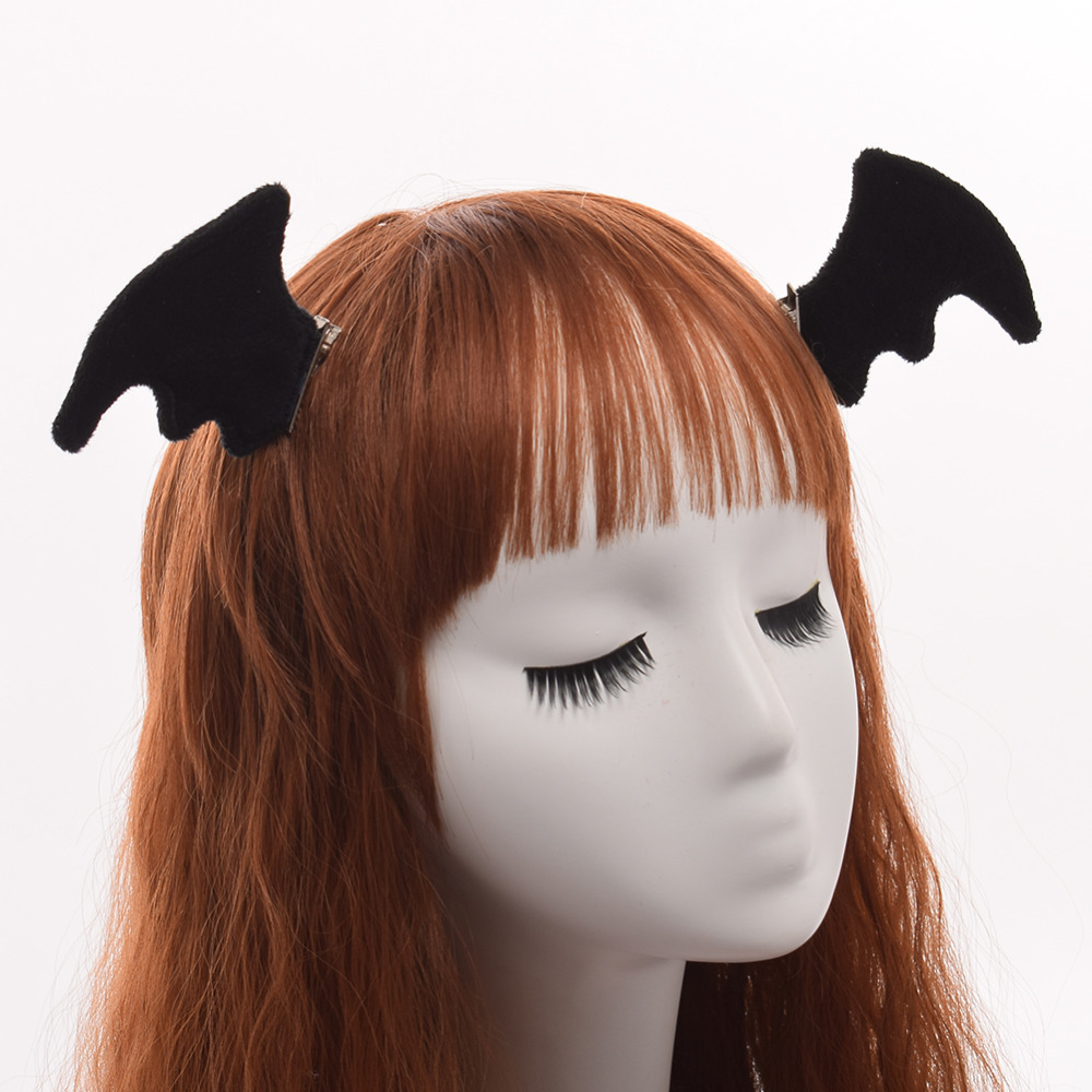 1pr Black Bat Wing Hair Clip Halloween Party Cosplay Costume Hair Pin Props