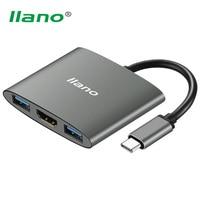 llano 4K Type C to HDMI USB Converter Fast Type C to USB3.0 Hub Splitter Adapter Cable for MAC Lenovo Thinkpad Hard Disk