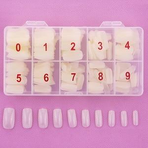 Image 2 - 1 boîte/500 pièces conseils couleur naturelle demi couverture faux français Nail Art artificiel acrylique Gel UV manucure ensemble bricolage Nail Art conseils