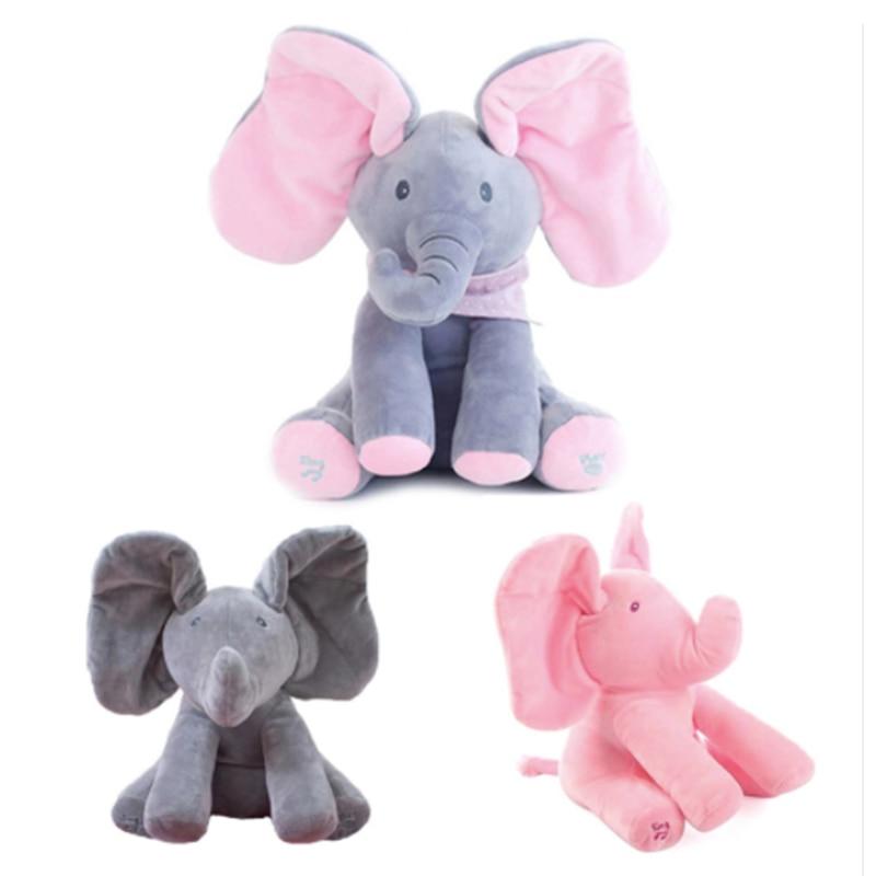 Hot Sell 30cm Play Music ElephantElectric Elephant Peek Plush Soft Toy Animal Stuffed Doll Play Hide Seek Cute Educational Toy