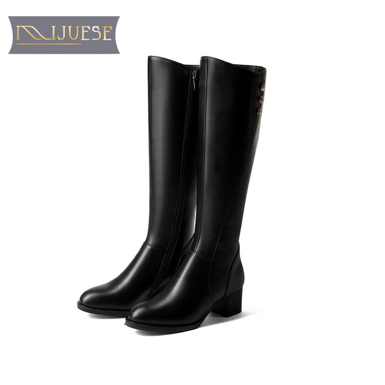 MLJUESE 2018 women knee high boots cow leather rivets pearls winter boots slip on short plush high boots size 34-43 high boots high boots eva lopez high boots