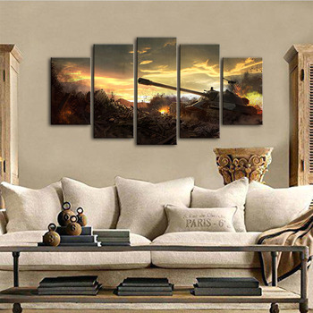 Canvas Wall Art Modular Pictures Home Decor 5 Panels World Tanks Battlefield Sky Clouds Sunset Paintings Living Room HD Printed