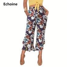 Woman Floral Print Wide Leg Pants Ankle -Length Pants Woman Flower Print Elegant Ruffle High Waist Irregular Trousers Pocket