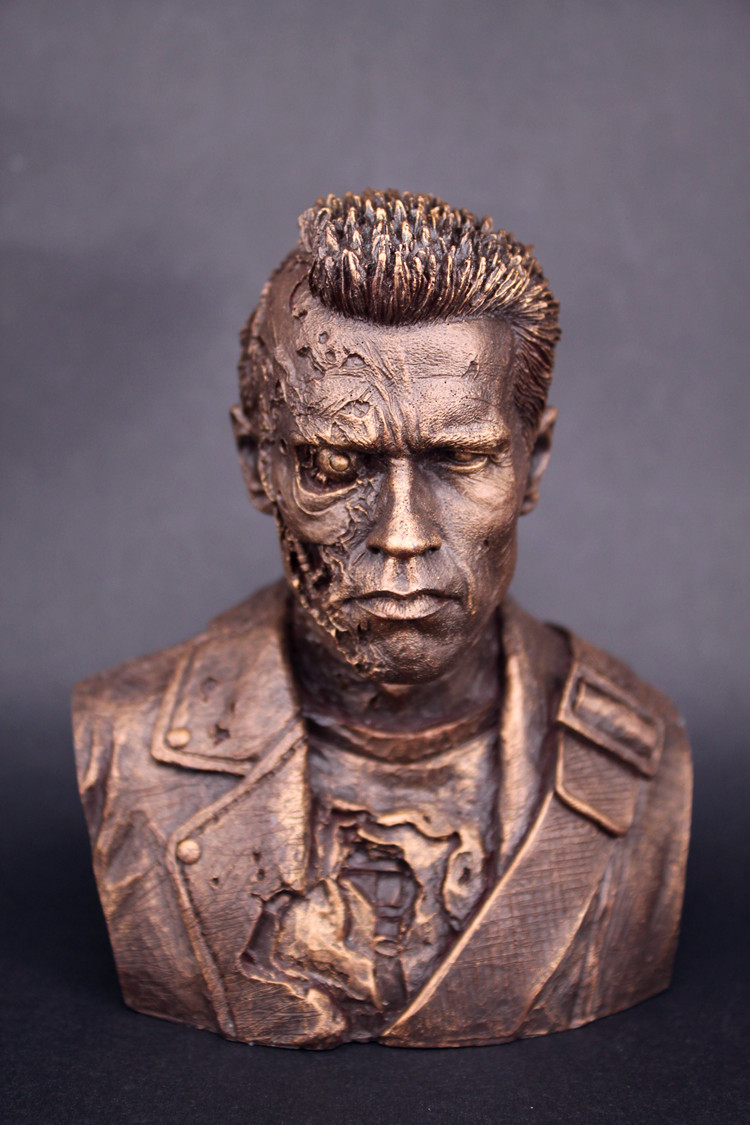 ФОТО 12cm Terminator T800 Metal Skeleton Battle Damage version Arnold bust status new box in stock now