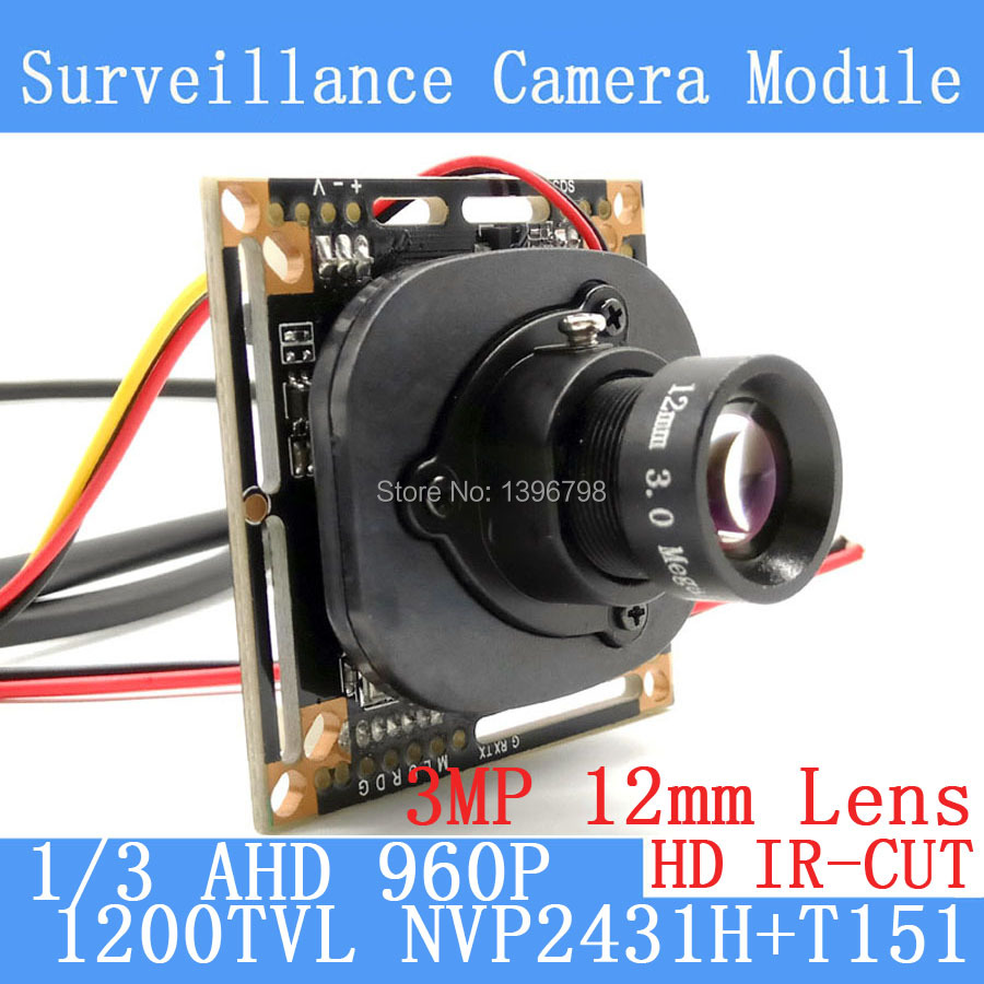 1200TVL AHD Camera Module 960P 1.3MP CCTV PCB Main Board NVP2431H+T151 3MP12mm Lens+IR Cut surveillance cameras ODS/BNC cable