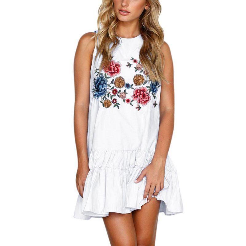Women Summer Ruffle Edge Dress Boho Floral Print Beach Dresses Sleeveless Vest Dress Sweet Style Female Loose Vestidos