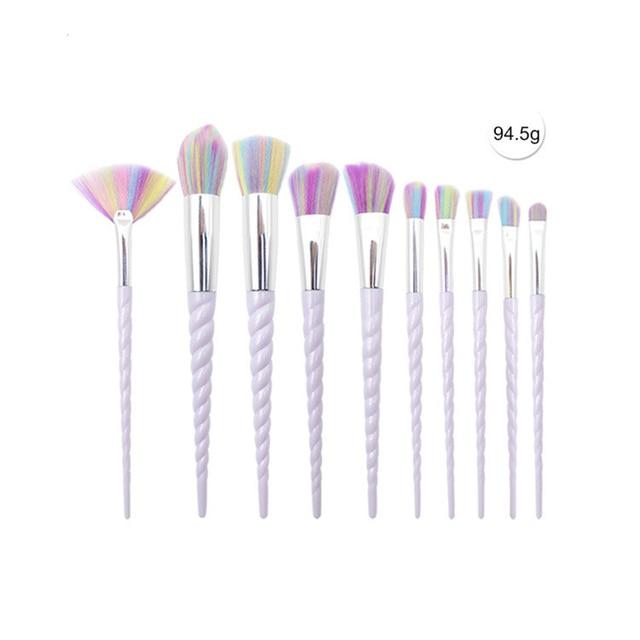 Kit Unicorn Makeup Brushes 10 Pcs White Set Face Powder Eye Shadow Eyeliner Eyelash Lip Brush Cosmetic tool Concealer Blusher 4