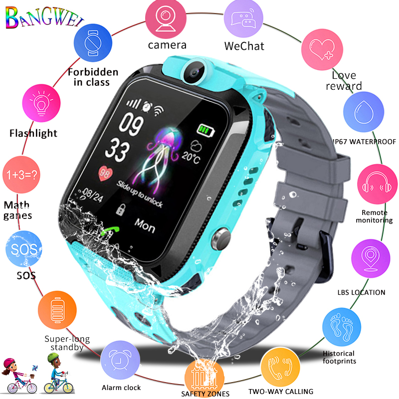 BANGWEI Children Smart Watch Camera Lighting Touch Screen SOS Call LBS Tracking Location Finder Kids Baby Smart Watch Kids Watch