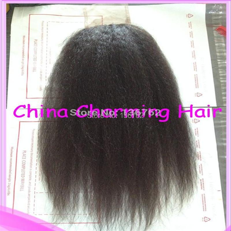 Virgin Brazilian Kinky Straight Hair Closure,100% Human Hair Lace Closure 4x4,Top Quality Hair Products,Natural Color 1B