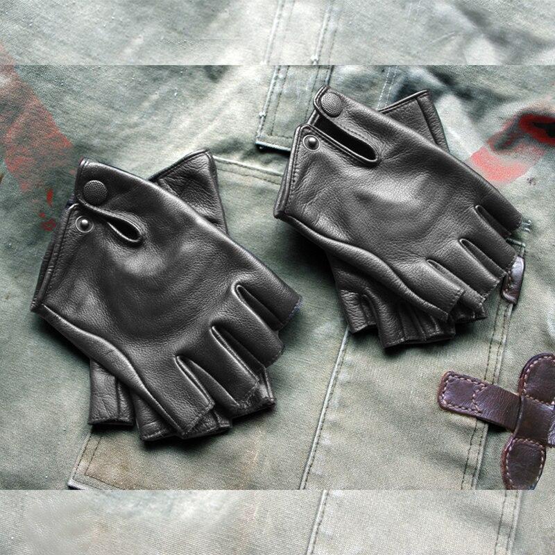 WW2 America Vintage en cuir demi-gants manchettes en peau de vache feux de position moto motard gants mitaines militaires hommes femmes gants