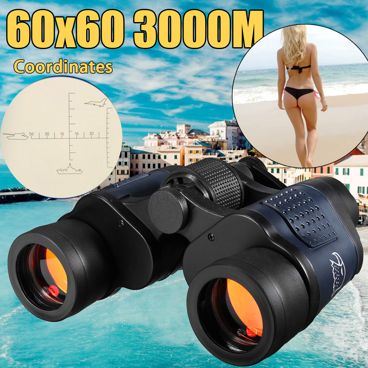 New 60X60 Optical Telescope Night Vision Binoculars High Clarity 3000M binocular Spotting scope outdoor Hunting sports eyepiece binocular telescope non infrared night vision binoculars camping hunting spotting scope telescopes support drop shipping