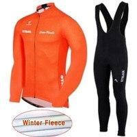 Spor ve Eğlence'ten Bisiklet Takımları'de Bisiklet Jersey 2020 Strava uzun kollu kış termal polar giyim bisiklet MTB bisiklet giyim Maillot Ropa Ciclismo Hombre 16D jel