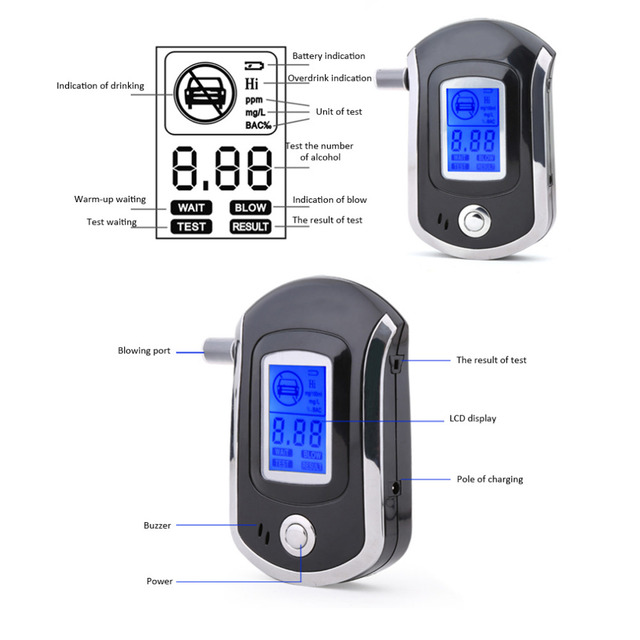 albabkc Professional Digital Breath Alcohol Tester Breathalyzer with LCD Dispaly