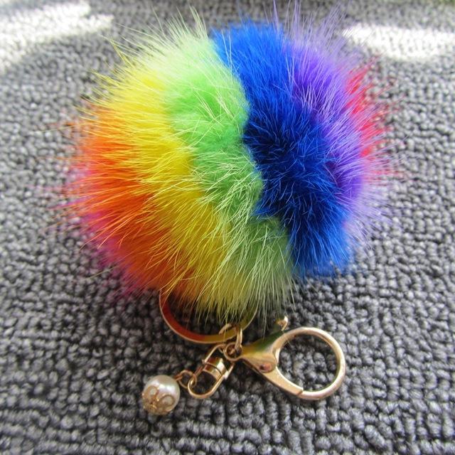 Pérola Mulheres Chaveiro Saco Acessórios Coloridos 8 cm Geniune Mink Bola De Pêlo Pompom Pom Pom Corrente Chave Chaveiro Amantes Namorada presente