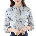 Mujeres Elegantes Blusas Camisas 2017 Del Otoño Del Resorte Señoras de Pie de Cuello de Manga Larga Casual Vintage Floral Print Lace Up Blusas Tops