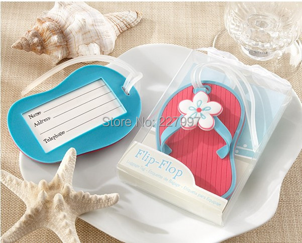 100pcslot flip flop luggage tag beach style wedding favor bridal shower gifts dhl free