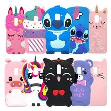 For Samsung J4 Case J6 3D Cat Unicorn Stitch Cartoon Soft Silicone Phone Back Cover Galaxy J8 2018