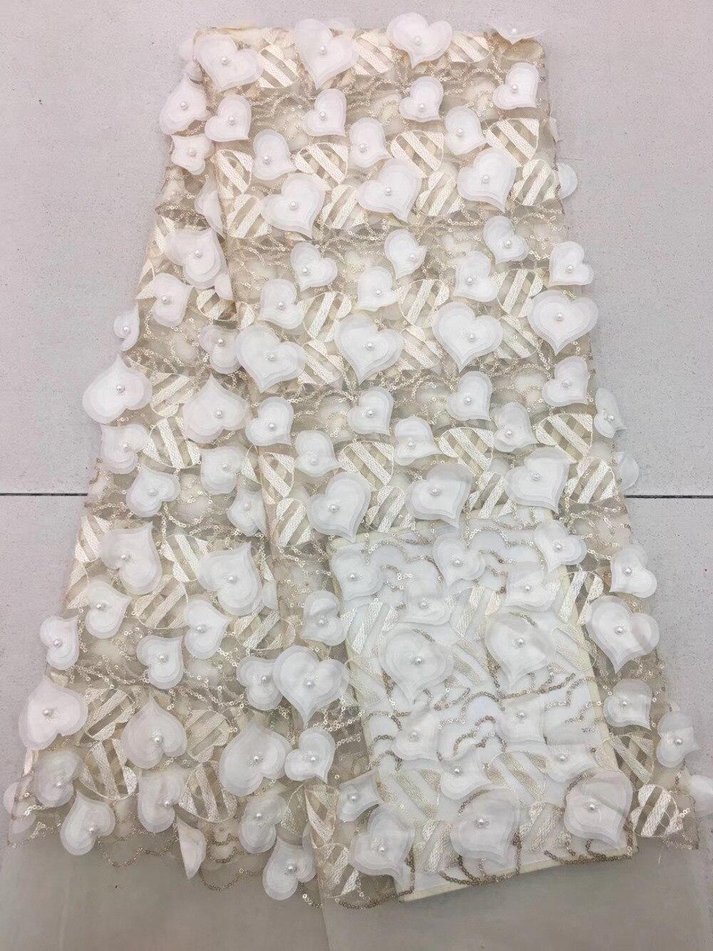 5 yards/sac RFJJ04 #8 couleur coeur laser fleur 3D paillettes brodées gaze de mariage pour robe de mariée/sciage