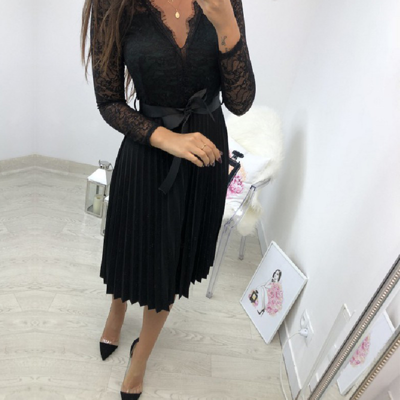 BEFORW Sexy VNeck Women Lace Dress Casual Party Pleated Chiffon Dresses 2019 Elegant Fresh Black Ribbon Hollow Chiffon Midi Dres 5