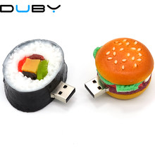 Flashdisk Kartun Korea Sushi Pendriver 4 Gb 16 GB 32 GB 64G USB Flash Drive Hamburger/Strawberry Kue /Hidangan Hadiah Penyimpanan Eksternal(China)