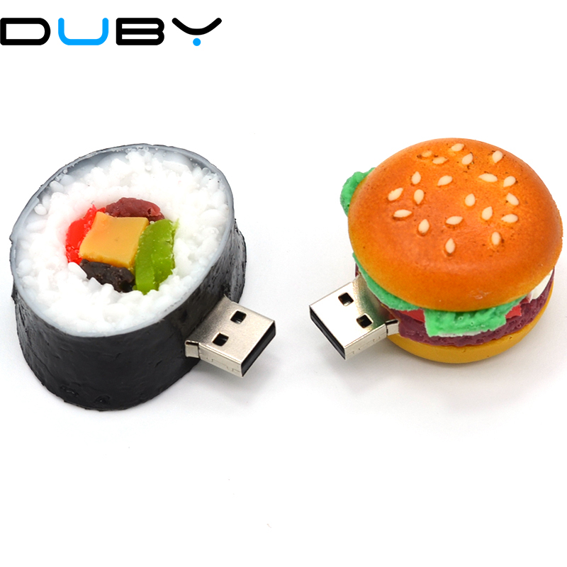 Pendrive cartoon Korean sushi pendriver 4gb 16gb 32gb 64G usb flash drive hamburger/strawberry cake/dishes gift external storage