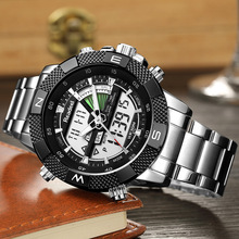 цена 2018 Fashion Luxury Brand Watches Men Digital LED Dual Display Silver Black Stainless Steel Quartz Men Watch Relogio Masculino онлайн в 2017 году