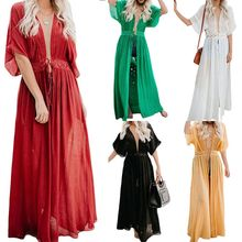 2019 New Womens Ladies Boho Long Kaftan Maxi Dress Slubbed Bikini Cover Up Party Beach