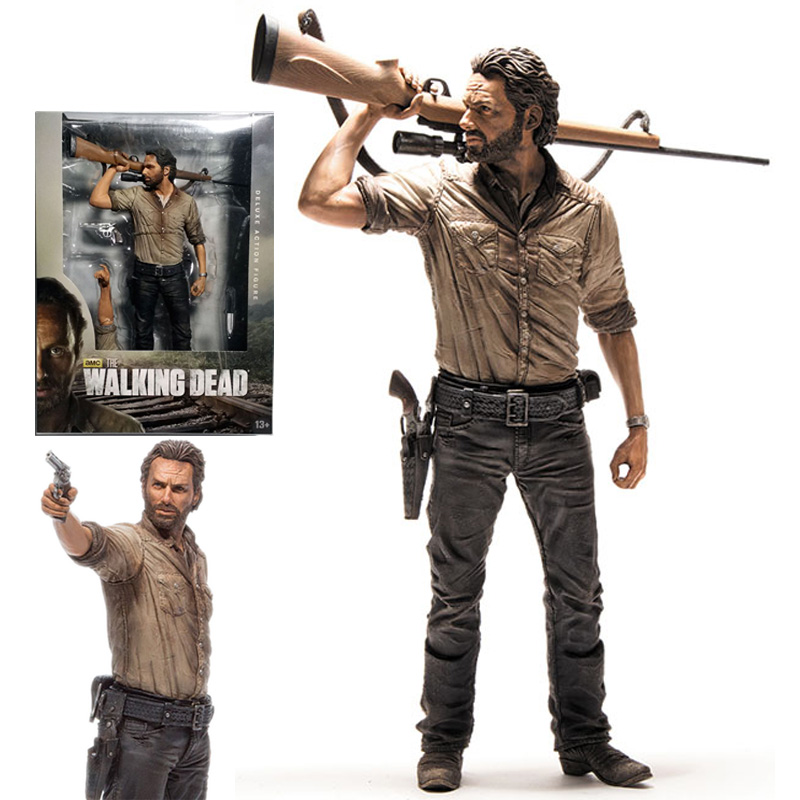 25cm AMC Terror TV Series The Walking Dead Figure Sheriff Rick Grimes With Rifle McFarlane Action Figures Toys