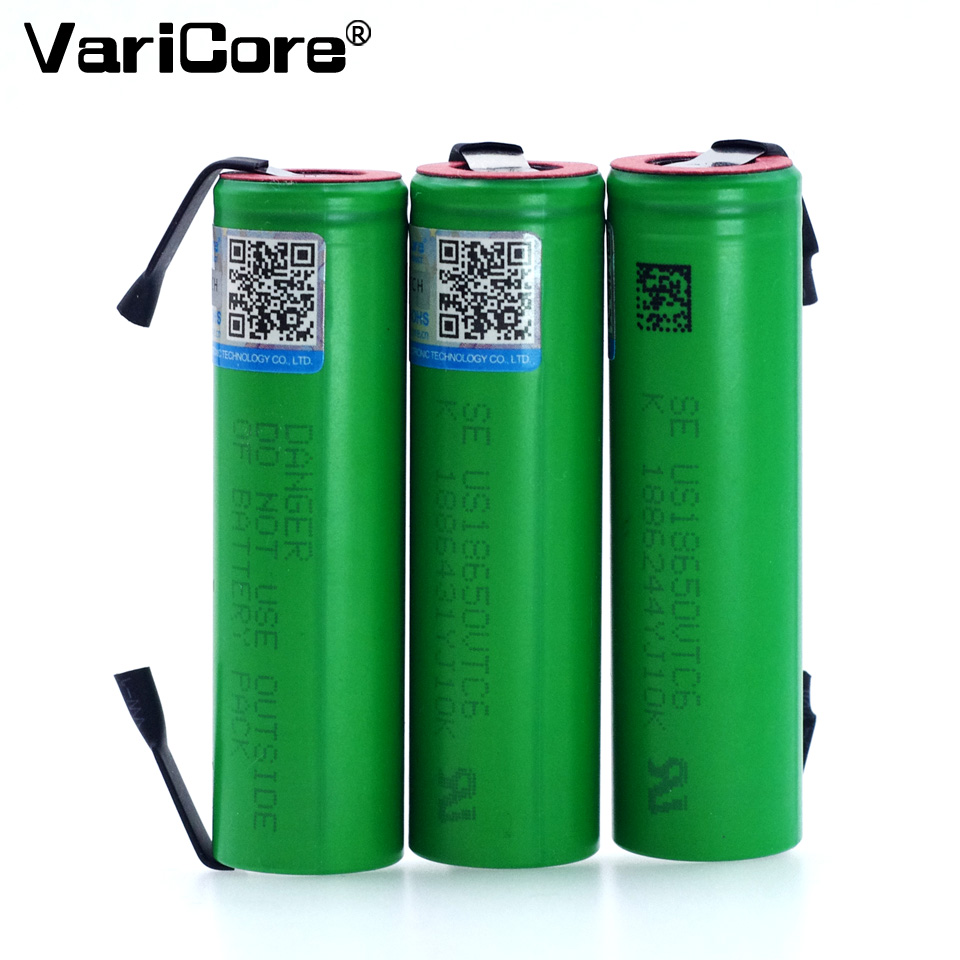 VariCore VTC6 3.7V 3000mAh 18650 Li-ion Battery 30A Discharge for Sony US18650VTC6 Tools e-cigarette batteries+DIY Nickel sheets 2pcs new original lg hg2 18650 battery 3000 mah 18650 battery 3 6 v discharge 20a dedicated electronic cigarette battery power