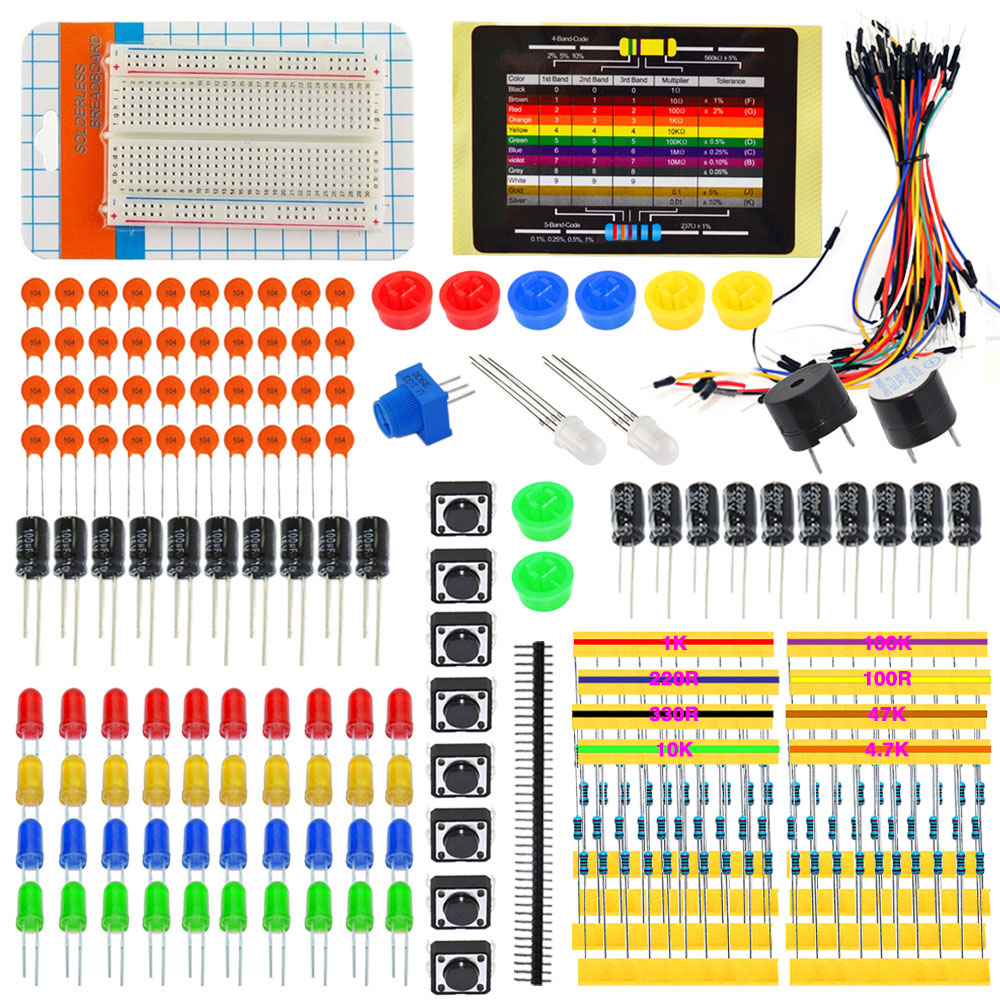 Generalduty Peças para Arduino Starter Kit Eletrônico W/LED/Fios Jumper/Placa De Ensaio + Caixa branca + 11 projetos (online)
