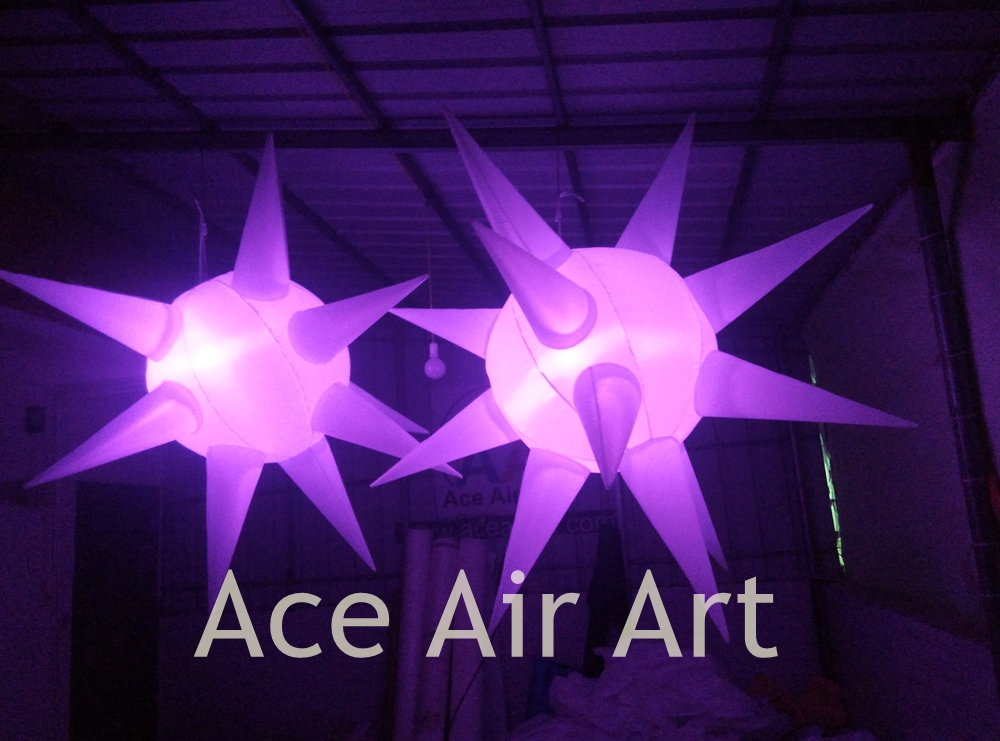 2 m Diameter Lighting Inflatable Star with Colorful LED For Event Decoration