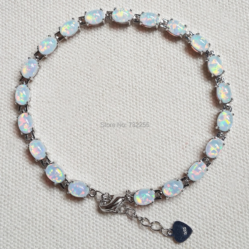 Fashion 7.5 Inches White Fire Opal Bracelets For Women