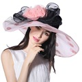 Women Ladies Organza Hat Derby Church Wedding Beach Cocktail Evening Party Summer Sun Cap Vintage Dress Fedora Wide Brim Flower