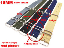 Ring buckle - Wholesale 10PCS/lots  High quality 18MM Nylon Watch band NATO waterproof watch strap fashion wach 5 colors