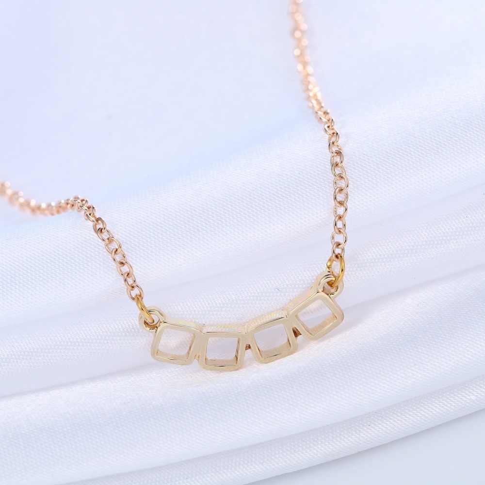QIAMNI Strange 4 petit collier de charme carré pendentif Collares minimaliste Simple bijoux cadeau collier pour filles et femmes