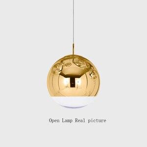 Image 4 - Lámpara nórdica con bola de cristal dorada y plateada para LOFT, luces LED colgantes para restaurante, Bar, iluminación Industrial, accesorios de cocina, Luminaria