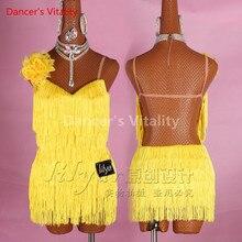새로운 사용자 정의 만든 여성 라틴 댄스 드레스 섹시 민소매 술 라인 석 스커트 라틴 살사 차차 표준 의상