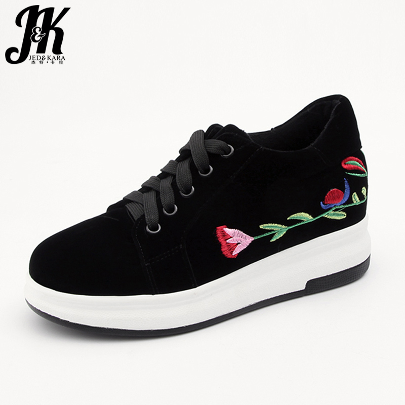 JK Flock Women Flats Platform Lace Up Round Toe Embroider Elevator Footwear Spring Fashion Handmade Casual Girl Sneakers Shoes