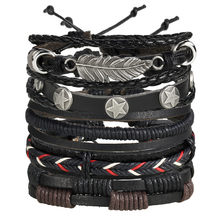 17KM Vintage Multiple Charm Bracelets Set For Men Woman Fashion Wristbands Owl Leaf Leather Bracelet Bangles Party Jewelry 2018(China)