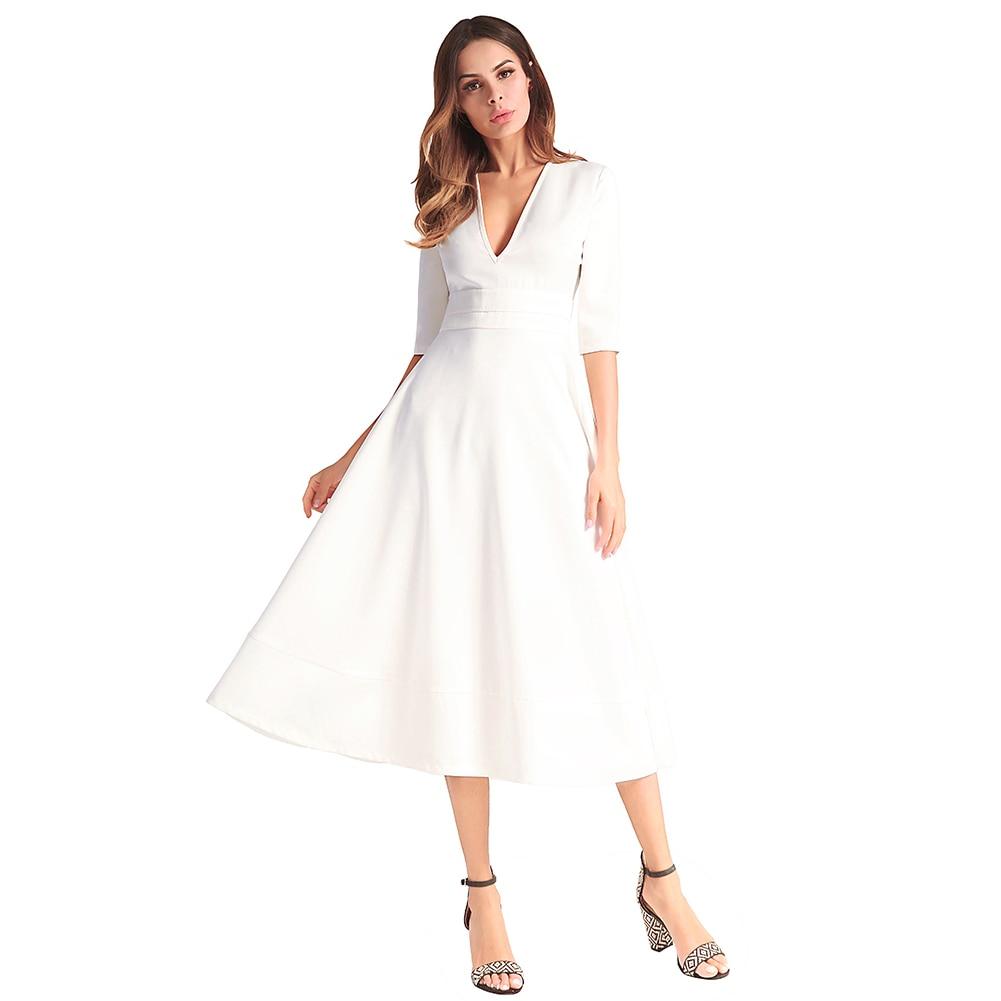 99a5d0bce6 Eleganckie kobiety długie suknie wieczorowe Midi sukienka Satin V ...