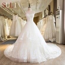 SL-25 Nova Namorada Trem Da Capela Rendas até Pérolas Do Vestido de Casamento 2017(China (Mainland))