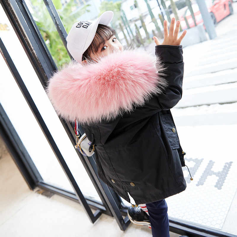07c961b949ef7 JKP Children fashion parkas genuine rabbit fur lining big raccoon fur  collar the jacket winter baby