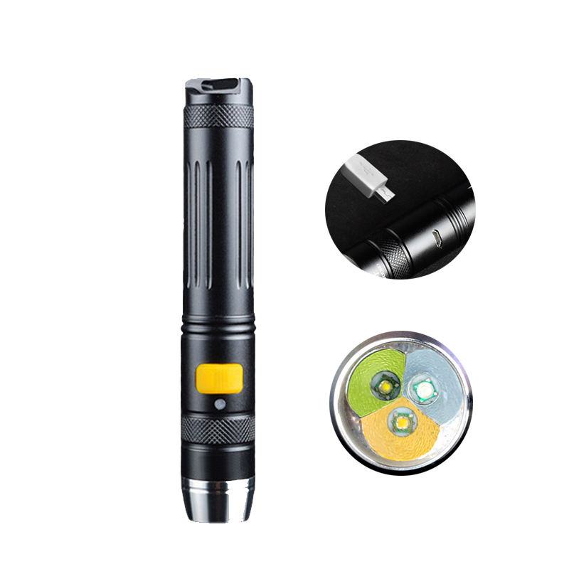 5 Modes 3 Light Sources ( Yellow+White+<font><b>365NM</b></font> Black Light <font><b>UV</b></font> ) USB Direct Rechargeable <font><b>LED</b></font> Flashlight for Jade Indentification