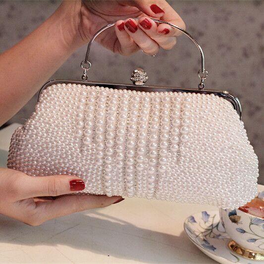 Rhinestone Full Pearls Fashion Banquet Evening Bag Day Clutch Wedding Bridesmaid Bag Small Lady Handbags Elegant