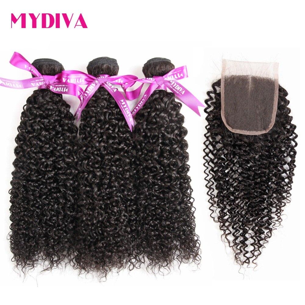 Malaysian Kinky Curly Hair 3 Bundles With Closure 4pcs Lot Human Hair Bundles With Closure Non