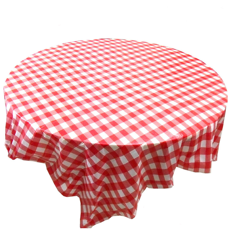 1pc Red Gingham Plastic Disposable Wipe Check Tablecloth
