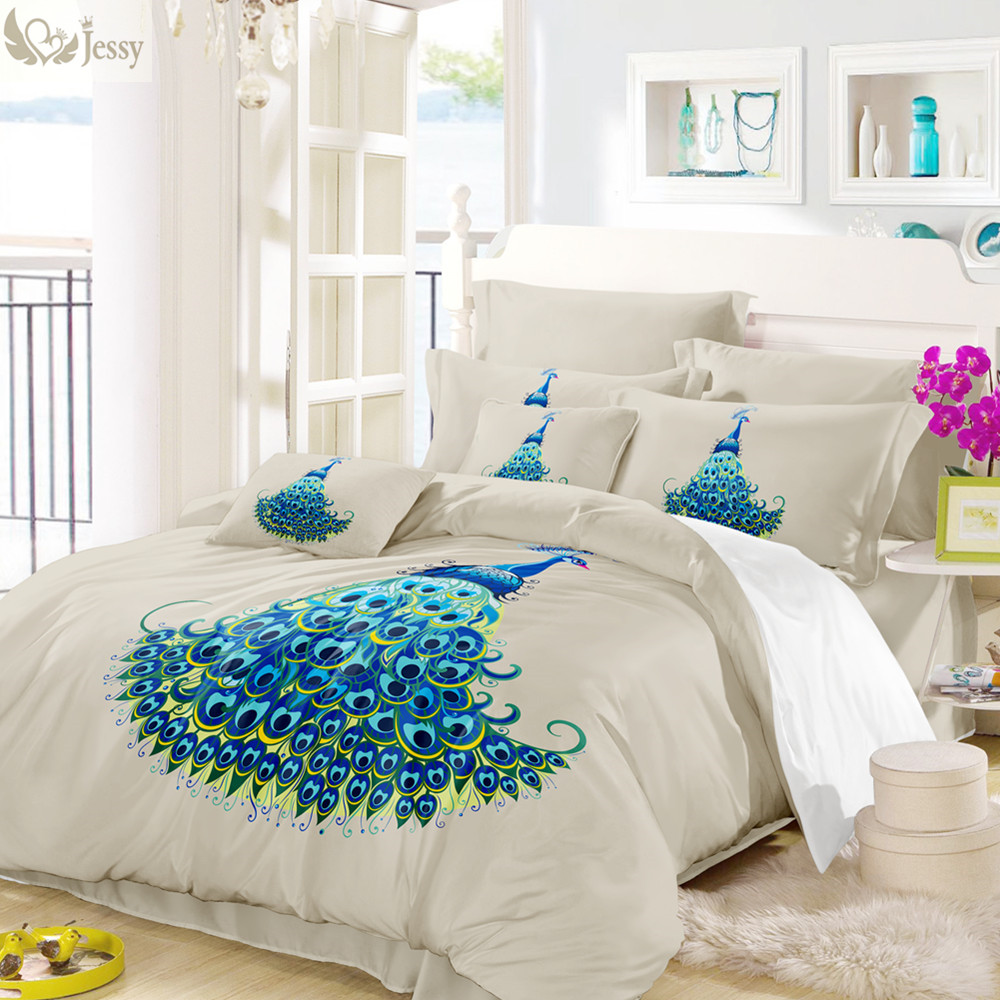 Blue Peacock Printed Bedding Set Bedroom Decoration