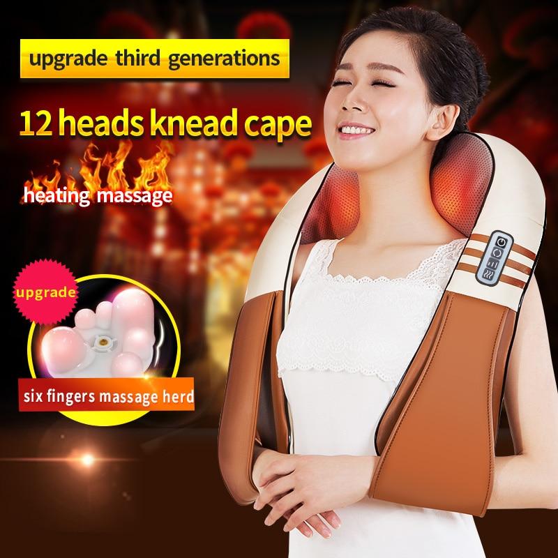 ФОТО (with Gift Box)JinKaiRui U Shape Electrical Shiatsu Back Neck Shoulder Body Massager Infrared Heated Kneading Car/Home Massagem
