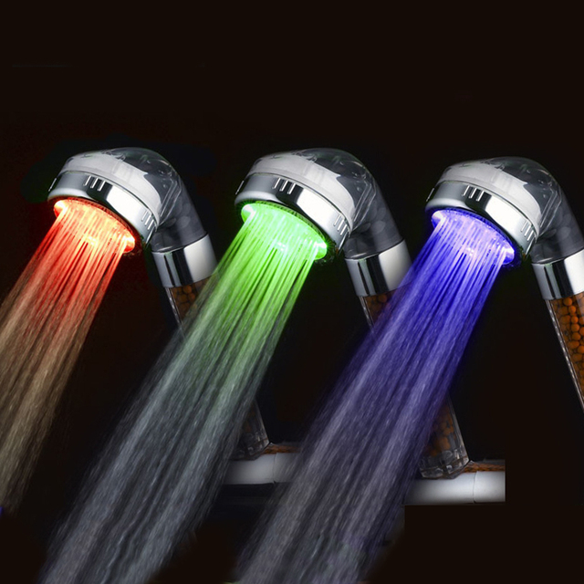 Beau Light Treatment Shower LED Negative Ion Shower Pressure Water Temperature  Control 3colors Or Colorful Handheld Nozzle