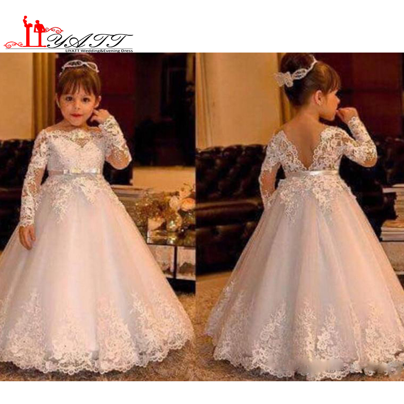 Adorable Little Girls Pageant Party Dresses 2017 Off the Shoulder Lace Appliques Bow Belt A Line Tulle Long Flower Girls Dresses
